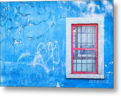 Blue Wall And Window With Red Frame Metal Print by Silvia Ganora