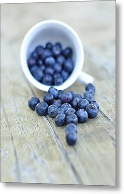 Blueberries In Cup Metal Print by Anna Hwatz Photography Find Me On Facebook