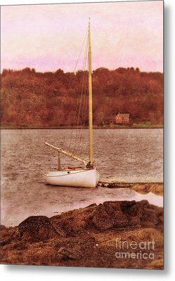Boat Docked On The River Metal Print by Jill Battaglia