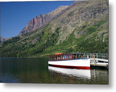 Boat On Two Medicine Metal Print by Marty Koch