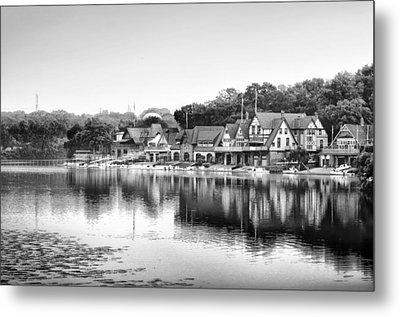 Boathouse Row In Black And White Metal Print by Bill Cannon