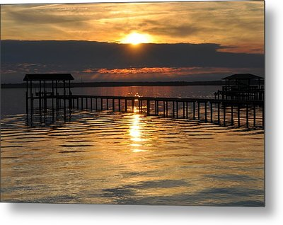Boathouses At Sunset Metal Print by Tiffney Heaning