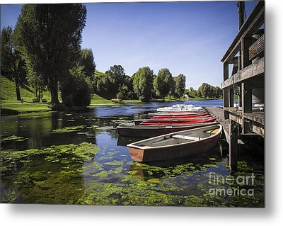 Boats On Lake Metal Print by Martin Dzurjanik