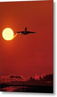 Boeing 747 Taking Off At Sunset Metal Print by David Nunuk