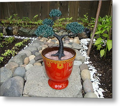 Bonsai Tree Medium Red Glass Vase Planter Metal Print by Scott Faucett