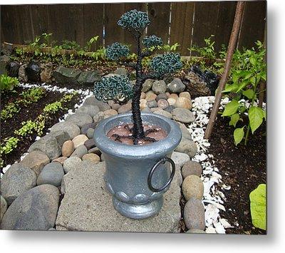 Bonsai Tree Medium Silver Vase Metal Print by Scott Faucett