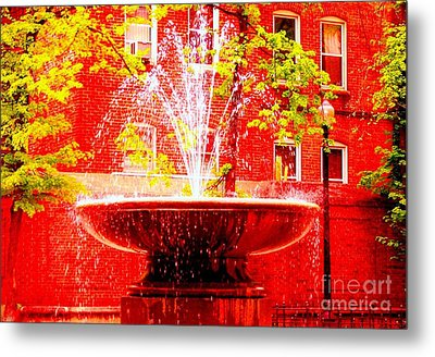 Boston Red Metal Print by Ann Johndro-Collins