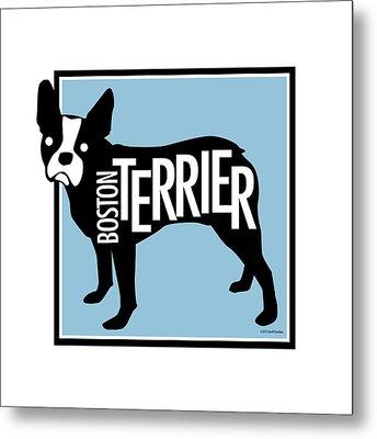 Boston Terrier Blue 2 Metal Print by Geoff Strehlow