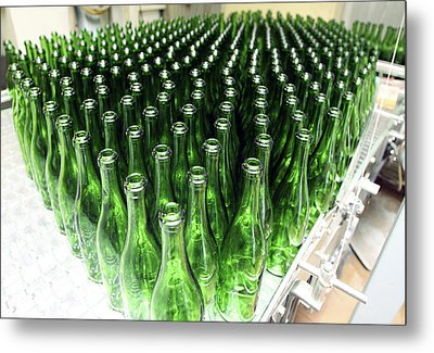 Bottles At A Wine Bottling Factory Metal Print by Ria Novosti