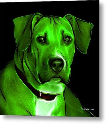 Boxer Pitbull Mix Pop Art - Green Metal Print by James Ahn