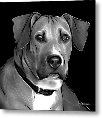 Boxer Pitbull Mix Pop Art - Greyscale Metal Print by James Ahn