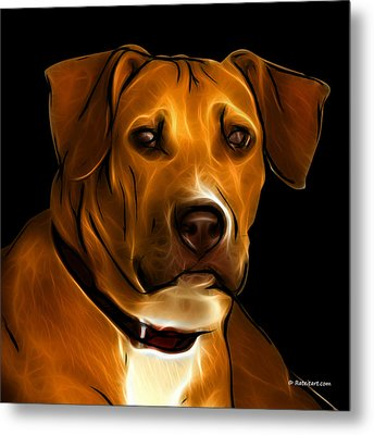 Boxer Pitbull Mix Pop Art - Orange Metal Print by James Ahn