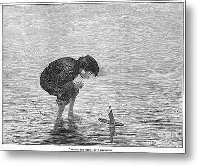 Boy And Toy Boat Metal Print by Granger