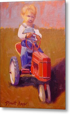 Boy On Tractor Metal Print by The Vintage Painter