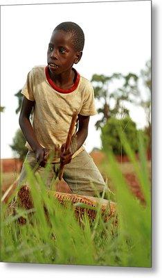 Boy Playing A Drum, Uganda Metal Print by Mauro Fermariello