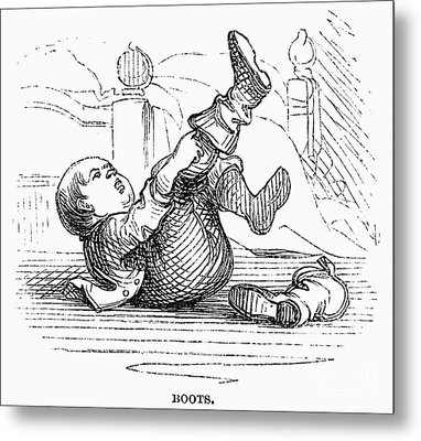 Boy Putting On Boots Metal Print by Granger