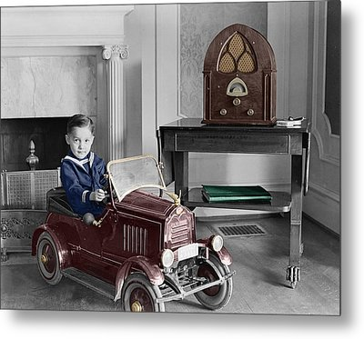 Boy With Toy Car Metal Print by Andrew Fare