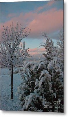 Boyd Lake Winter Moonset Metal Print by Harry Strharsky