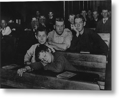 Boys And Teenagers Attend Night School Metal Print by Everett