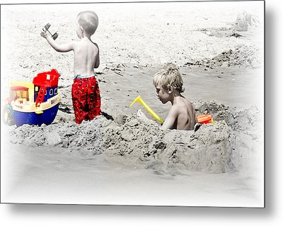 Boys Will Be Boys At The Beach Nj Metal Print by Gwenn Dunlap