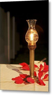Brass Candle Romance Metal Print by Kantilal Patel