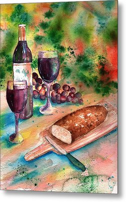 Bread And Wine Metal Print by Sharon Mick