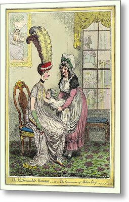 Breastfeeding, 18th-century Caricature Metal Print by Miriam And Ira D. Wallach Division Of Art, Prints And Photographsnew York Public Library