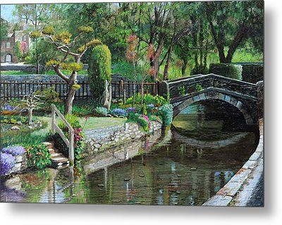 Bridge And Garden - Bakewell - Derbyshire Metal Print by Trevor Neal