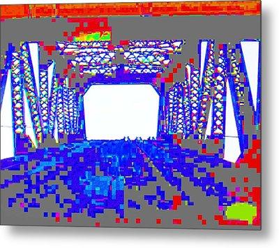 Bridge In Blue Metal Print by Val Oconnor