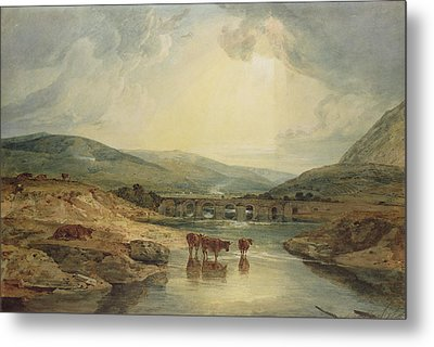 Bridge Over The Usk Metal Print by Joseph Mallord William Turner