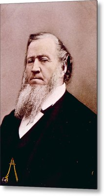 Brigham Young 1801-1877, Hand Colored Metal Print by Everett