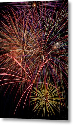 Bright Colorful Fireworks Metal Print by Garry Gay