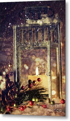 Brightly Lit Lantern In The Snow Metal Print by Sandra Cunningham