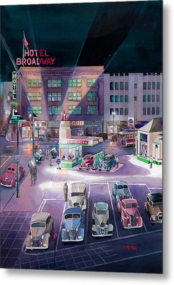 Broadway And Burnside 1941 Metal Print by Mike Hill