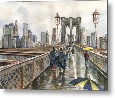Brooklyn Bridge Metal Print by Anne Gifford