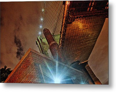 Brooklyn Bridge At Night Metal Print by Alex AG