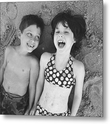 Brother And Sister On Beach Metal Print by Michelle Quance