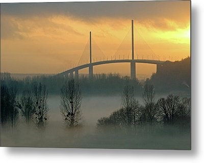 Brotonne Bridge Metal Print by Photographie Hg Meunier