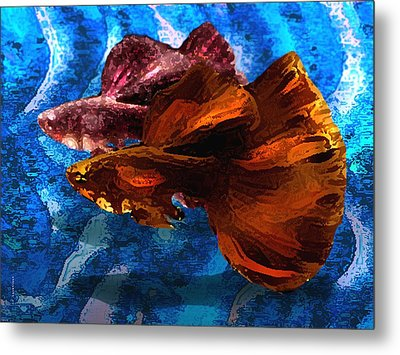 Brown Fish In Abstract Art Metal Print by Mario Perez