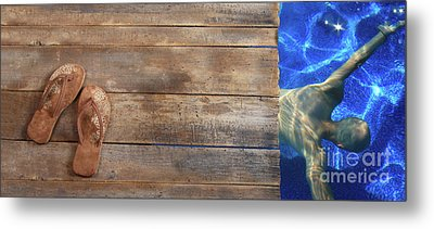 Brown Sandals On Withered Wood Metal Print by Sandra Cunningham