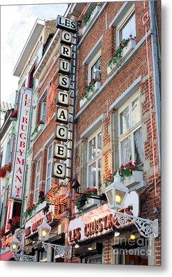 Brussels - Place Sainte Catherine Restaurants Metal Print by Carol Groenen