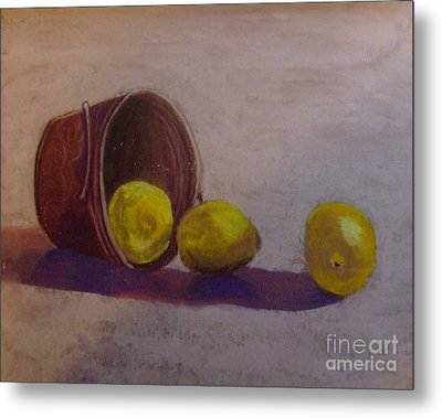 Bucket Of Lemons Metal Print by Calliope Thomas