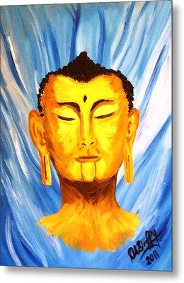 Buddha On Blue Metal Print by Deborah Duffy