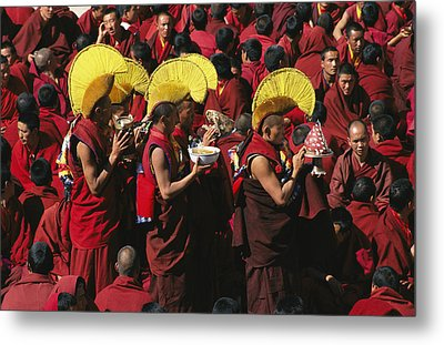 Buddist Monks At Nechung Monastery Metal Print by Maria Stenzel