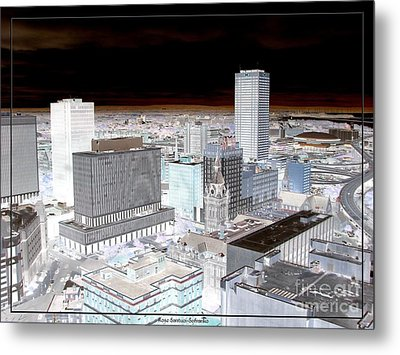 Buffalo New York Aerial View Inverted Effect Metal Print by Rose Santuci-Sofranko