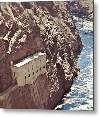 Building Built Into River Valley Cliff Metal Print by Eddy Joaquim