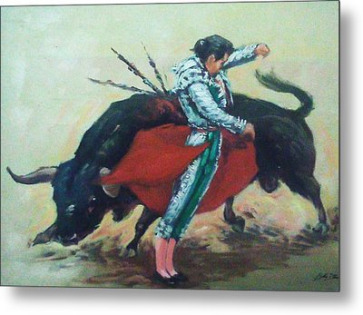 Bull Fighter 3 Metal Print by Baez