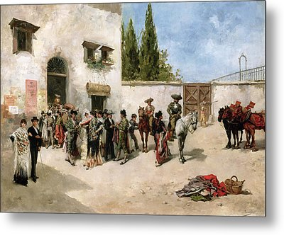 Bullfighters Preparing For The Fight  Metal Print by Vicente de Parades
