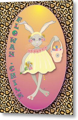 Bunnie Girls- Flowah Chile 1 Of 4  Metal Print by Brenda Dulan Moore