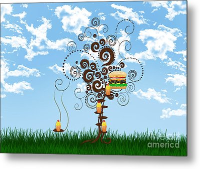Burger Tree House And The Cupcake Kids  Metal Print by Andee Design